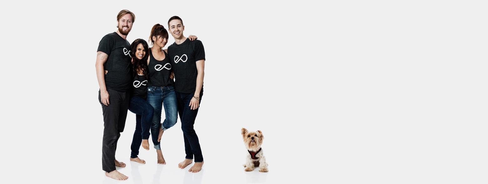 Yogis with a studio dog, Gucci