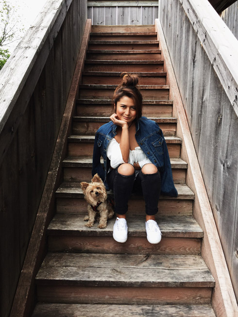 Photo of Lizl Fleury with her yorkie, Gucci