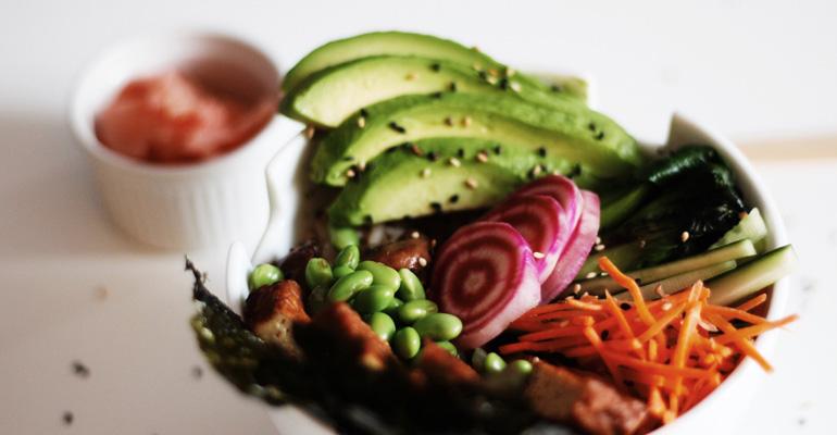 Veggie sushi bowl